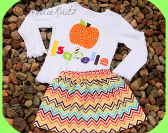 2 Piece Personalized Pumpkin T shirt and Chevron Skirt Toddler School Tween Long or Short Sleeve