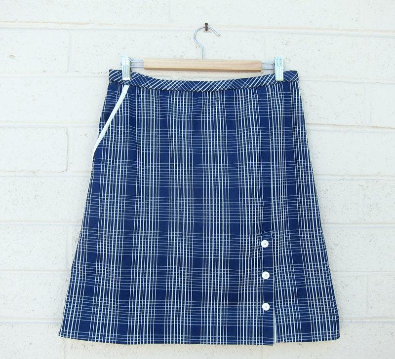 vintage nautical skirt a line navy blue white plaid print