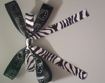 CLEARANCE Zebra Black Hello Kitty Hair Bow Clip