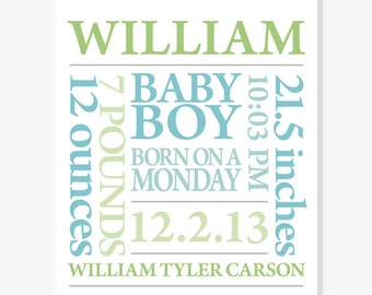 Nursery Art - Baby Name Print Personalized Subway Art - Green Blue Customize Colors - 11x14 Poster Print