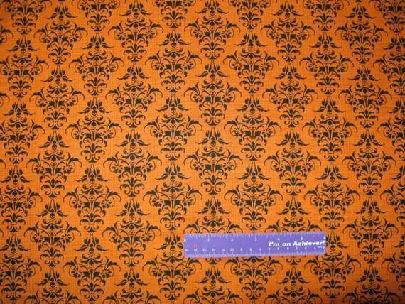 Chillingsworth Skull Crossbones Damask Orange Cotton