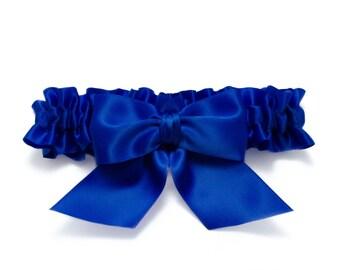 Wedding garter - bridal garter - cobalt blue garter - cobalt blue satin garter- cobalt blue garter - cobalt blue toss garter - cobalt blue