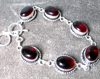 Hand Made Sterling Silver and Garnet Cabochon Bracelet