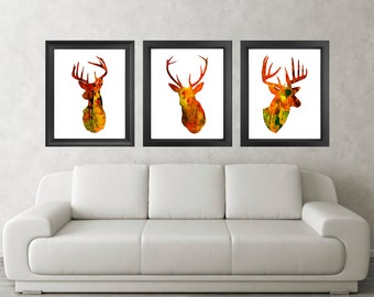 Antler, Stag, Deer Print Set of 3 - Minimalist Art - Watercolor Poster Silhouette Art - Print - Wall Decor, Home Decor, Gifts (03)