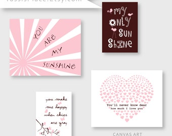 CANVAS ART, Baby Girl Nursery Decor, Pink and Brown nursery, You Are My Sunshine signs, Set of 4 prints, Kids wall art by YassisPlace