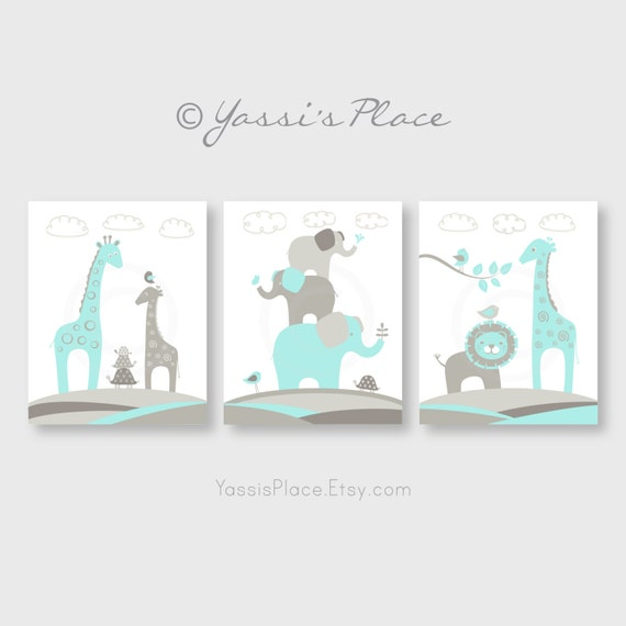 Popular Items For Nursery Decor On Etsy Baby Shower: Items Similar To Kids Nursery Decor In Aqua And Gray