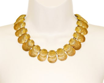 Mimi di N Necklace, Golden Shells, Signed, 1974