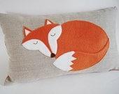 "Sleeping Fox Pillow/ Cushion Cover/Organic Linen/ Pillow Cover/ Decorative Pillow/ Bedding/ 12""x20 ""/ OOAK/ Ready To Ship"