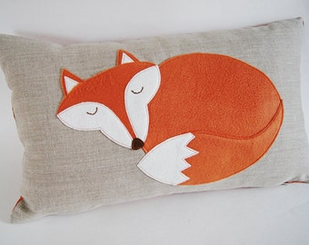 "Sleeping Fox Pillow/ Cushion Cover/Organic Linen/ Pillow Cover/ Decorative Pillow/ Bedding/ 12""x20 ""/ OOAK/ Made to Order"