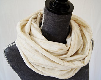 Organic Linen Jersey Infinity Shawl Wrap in Oatmeal Color with Golden Stripes/ Ready To Ship
