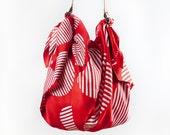 Free Shipping Worldwide - Dots furoshiki bag (rust) & Tan leather strap set