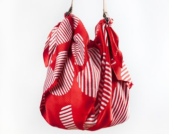Dots furoshiki bag (rust) & Tan leather strap set