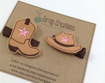 Cowboy Hat & Boot Hair Clip Feltie Western Felt Hair Clip Star Felt Hairclip