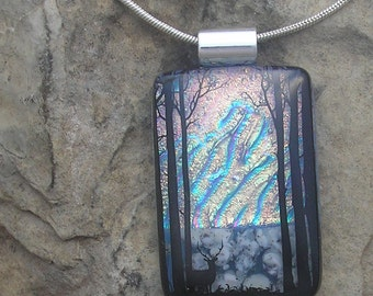 Forest Deer Necklace Fused Dichroic Glass Nature Pendant
