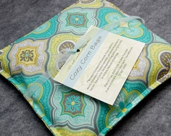 Heating Pad, Corn Bag, Microwavable Heat Pack, Hot Cold Therapy Pillow, Hand Warmer, Muscle Aches, Spa Gift -- Small 9x9 --  Mosaic