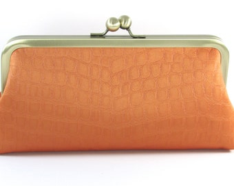 Tangerine Evening Bag Clutch -  Silk Women's Handmade Handbag - Animal Print Metal Frame Purse - Bagboy