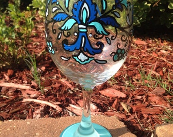 Feather Fleur de lis Wine Glass Blue french inspired fancy wineglass peacock bird feathers