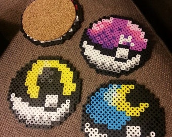 HOLIDAY SALE Bundled Savings: Pokémon Pokéball Coasters with Cork Backing. 26 types! Choose your bundle!