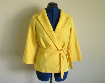 1960s Yellow Vintage Stylecraft Jacket with Belt, Large