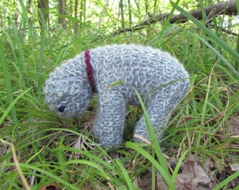 Natural Toy Knitted Lamb, Gray Tweed - Light green - soft, natural toy sheep for baby or toddler ...adults love it too.