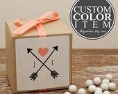 12 - Personalized Wedding Favor Boxes - Custom Color - Bridal Shower Favors, Personalized Favor Box, Arrow Label