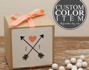 12 - Personalized Wedding Favor Boxes - Custom Color - Bridal Shower Favors, Personalized Favor Box, Arrow Label