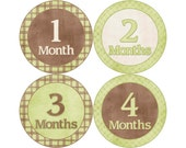 Baby Stickers Monthly, Boys Baby Bodysuit Stickers, Monthly Stickers, Baby Month Stickers, Monthly Bodysuit Stickers, Brown and Green (B154)