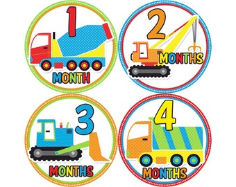 Monthly Stickers, Boys Photo Props, Monthly Baby Stickers, Monthly Baby Photos, Baby Gift, Milestone Stickers, Trucks (B075)