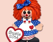 Raggedy Ann  HANDMADE POLYMER CLAY Personalized Christmas Ornament