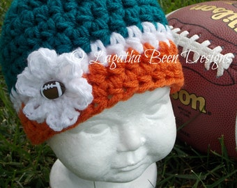 Miami Dolphins inspired baby hat - team sports - sports props - photo prop - made to order
