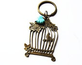 Bird Cage Keychain, Vintage Style Retro Gold Tone Keychain, Cage Bird Charm Bag