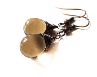 Coffee Drop Earrings, Brown Earrings, Coffee Drops, Sweet Bohemian Coffee Drop Earrings