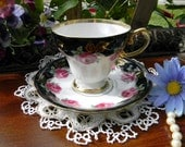 Japanese Norcrest Teacup and Saucer - Black Bands Red Roses 10363