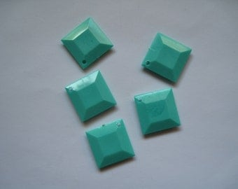 7-Square Plastic Faceted Turquoise Colored Beads