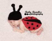 Newborn or 0-3 months  baby ladybug hat and cape set crochet Newborn photo props photography boy girl