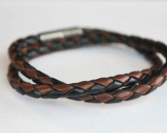 Black and Brown braided cord doublewrapped Magnetic leather bracelet