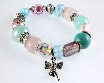 Beaded Guardian Angel Stretch Bracelet, Pink and Blue Mixed Beads