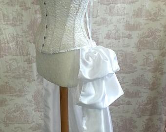 Wedding White    SALOON GIRL   Long Burlesque  Luxe Saloon Bustle STEAMPUNK