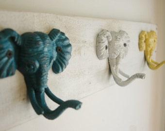 Elephant Decor, kids room decor, jacket hooks, scarf hooks, toddlers room, teens room, african decor, nursery wall, elephant hook,