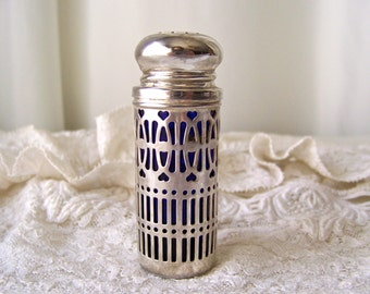 Vintage Pepper Shaker Silver Plate Filigree Cobalt Blue Orphan Pepper Shaker Replacement Shaker Vintage 1960s