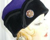 Purple/Blue Plum Fleece Pillbox Lid Black Velvet Cuff