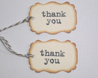 10 Thank You Favor Tags - Wedding Favors -  Bridal Shower Tags - Party Favors - Baby Shower Tags