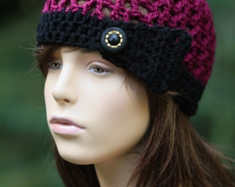 Cloche Hat with side band and button