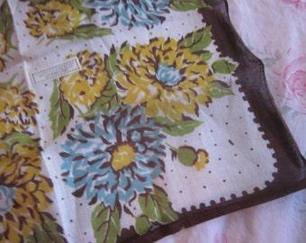 Vintage Hankie Brown Printed Floral Yellow HARPER'S BAZAAR Tag Pure Linen