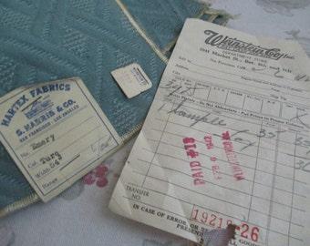 "Vintage Blue Hartex Fabric SAMPLE 26"" Original Receipt 1942 Emery Turquoise Weinstein Co S55"