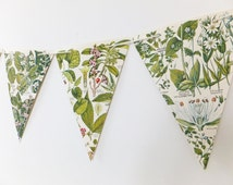 Botanical Bunting, recycled Garland, eco-friendly banner, upcycled bunting, spring wedding decor, Wedding Pennants