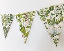 Botanical Bunting, recycled Garland, eco-friendly banner, upcycled bunting, wedding decor, Wedding Pennants