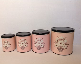 Vintage 1950s Decoware pink and black canister set