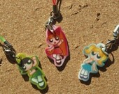 Powerpuff Super Heroines pick 1 charms as a cell phone charm or keychain