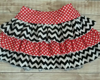 Gameday Chevron Twirl Skirts with layers of ruffles and sash